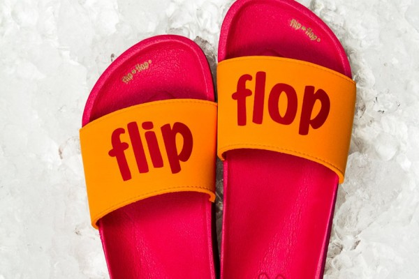Red Flip Flop on ice