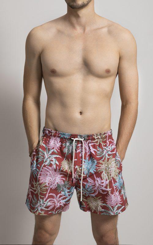 Long Swim Shorts Palms Print